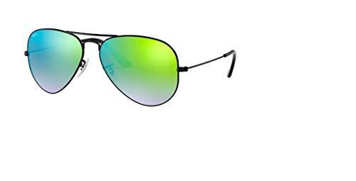 Ray Ban Unisex Sonnenbrille RB3025, Grün (Gestell: Schwarz, Gläser: Grün Gradient, Verspiegelt 002/4J), X-Large (Herstellergröße: 62)