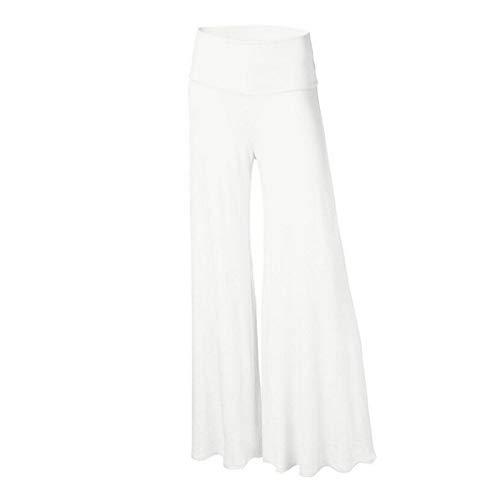 JJDSL Weites Bein Hose Damen,Vêtements Pour Femmes Fashion Casual Women'S Solid Color High Waisted Wide Leg Pants Loungewear Plus Size Trouser Pants for Daily Wear,White,XXL