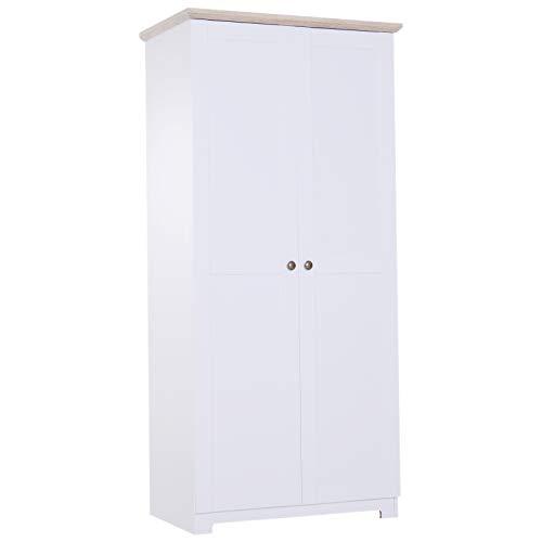 HOMCOM Aufbewahrungsschrank Mehrzweckschrank Kleiderschrank Wäscheschrank Kommode 4 Fächer 2 Türen Holz Weiß 80 x 48 x 172 cm