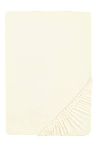 biberna 0077640 Jersey Elastic Boxspring Fitted Sheet (Mattress Height 25-40 cm) 90 x 190 cm - 100 x 220 cm Mother of Pearl