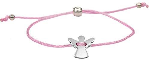 Milosa sieraaddesigns beschermengel armband roze voor meisjes met engel (in grootte verstelbaar) kinderarmbanden met zoete zilveren geluksbrenger