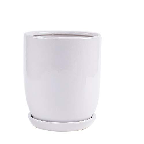 CJH Creatieve Huishoudelijke Keramische Bloem Pot Woonkamer Staande Hoge Cilinder Ronde Groene Spin Orchidee Bloem Pot Wit