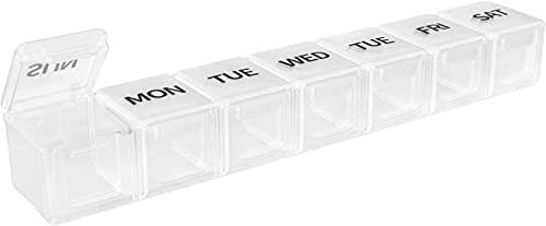 Aidou Pastillero rectangular 7 días organizador semanal para guardar vitaminas, aceite de hígado de bacalao, suplementos y medicamentos para viajes