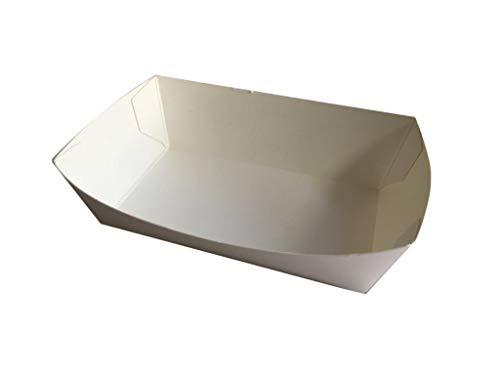 Nicoletti 100 vassoi in cartoncino Bianco per Patatine Fritte e Altri cibi da asporto French Fries Tray con o Senza forchettine in Legno 100% BIO (100 Solo vassoi 300ML)
