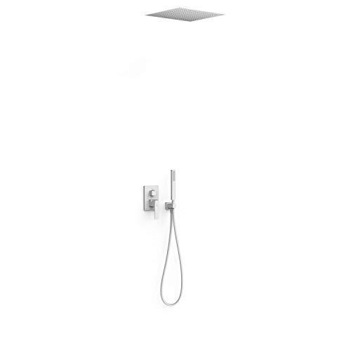 Kit de grifo monomando empotrado de 2 vías Rapid-Box para ducha, gama Slim-Exclusive, con rociador de 38 x 38 cm y ducha de mano, acabado blanco mate (referencia: 20228006BM)