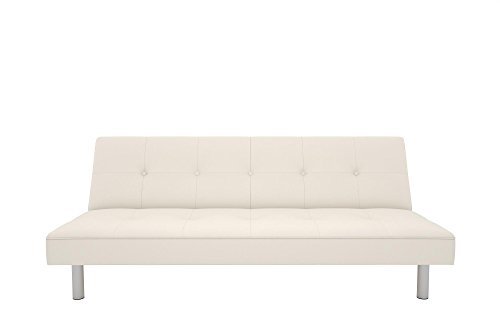 DHP Nola Futon Couch with Tufted Faux Leather Upholstery, Modern Style, White Faux Leather