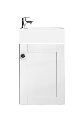 WC Badmöbel Avila 40x22 cm Hochglanz weiß - Schrank Waschbecken Badezimmer Toilette