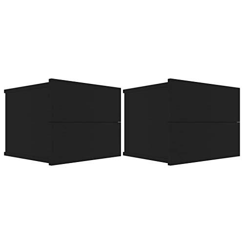 vidaXL 2X Mesitas de Noche Aparador Mesilla Auxiliar Armario de Habitación Dormitorio Cajón Organizador Almacenamiento Aglomerado Negro 40x30x30 cm