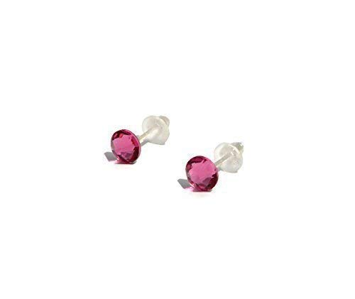 Petite stud earrings with SWAROVSKI Rose Pink Stud earrings 4.6mm - handmade for girls and woman - silver plated posts - October Birthstone - one pair