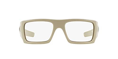 Oakley Men's OO9253 Det Cord Rectangular Sunglasses, Desert Tan/Clear, 61 mm