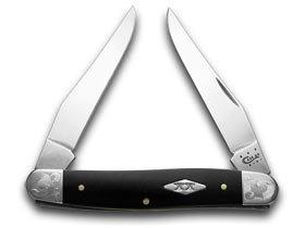 CASE XX Smooth Black Delrin Scrolled Bolster 1/500 Muskrat Pocket Knife Knives