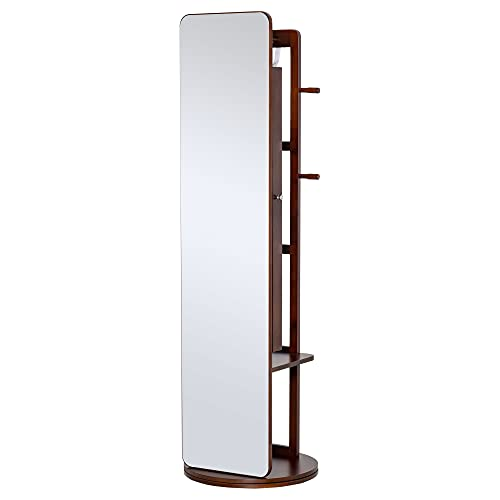 HOMCOM Full Length Glass Mirror with Hidden Jewelry Cabinet and Pine Wood Clothing Rack, Coffee Brown