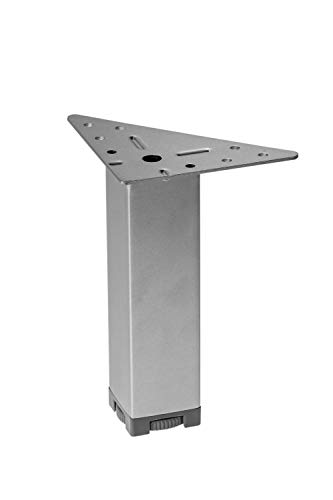 Gedotec Moderner Möbelfüße höhen-verstellbarer - MARIE | Höhe 150 mm | Metall Sofa-Fuß mit Regulierschraube | Schrankfuß Chrom matt | 4 Stück - Design Sockelfüße silber mit Dreieck-Anschraubplatte