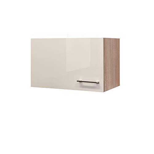 Flex-Well Kurz-Hängeschrank NEPAL - Küchenschrank für Dunstabzugshaube - Breite 60 cm - Creme glänzend/Eiche Sonoma