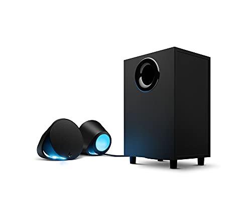 Logitech G560 Altavoces Gamer para PC, Sonido envolvente DTS:X, Iluminación LIGHTSYNC RGB integrada, 2 altavoces satélite y un subwoofer, Experiencia de juego inmersiva - Negro