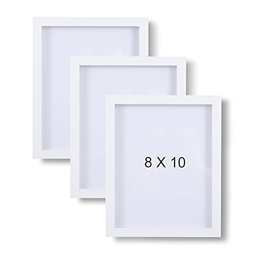 Muzilife 3D Bilderrahmen zum Befüllen 20x25cm Tiefe Box Objektrahmen mit Glasscheibe 3 Stück Weiß