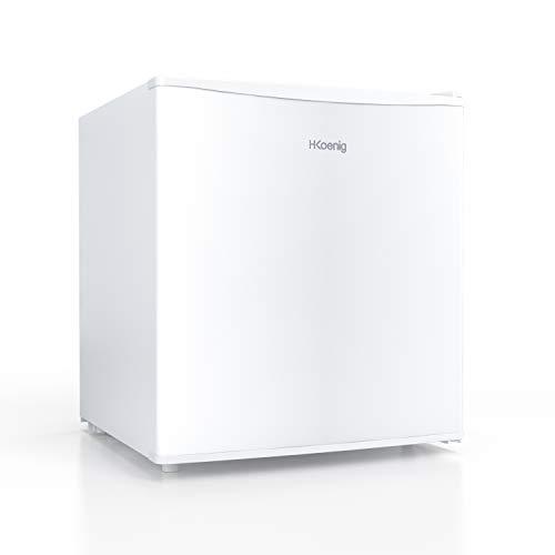 H.KOENIG mini-koelkast FGX480 / 46 L/vrijstaand/energieklasse A+/kleine compacte afmetingen 51 cm/stil/4 l ijsvak/verstelbare thermostaat/deurscharnier verwisselbaar, wit