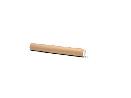 Runde Versandhülse, bis DIN A2, Versandrolle als Verpackung für Zeichnungen und Poster, mit Deckel, Durchmesser 6,0 cm x 50,0 cm, braun