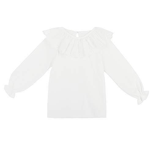 Camilife Baby Mädchen 100% Baumwolle Weiß Langarmshirt mit Rüschenkragen Puppenkragen Knopfverschluss Babymode Weich Niedlich - Einfarbig Weiß Größe 6M