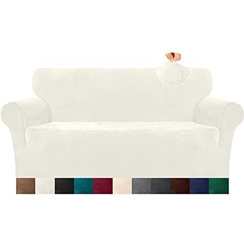 Luxurlife Dicke Samt Sofabezug 1 Stück High Elastischer Antirutsch Couchbezug 3 Sitzer Möbelschutz mit elastischem Boden für Wohnzimmer (3 Sitzer, Creme)