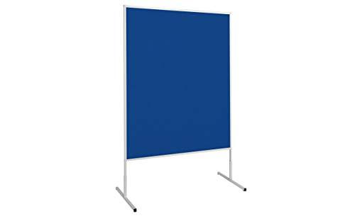 MAUL Moderationstafel Filz Blau, Standard Pinntafel 150x120 cm, Beidseitig auch als Stellwand nutzbar, Standfuß, 6363482, 1 Stück