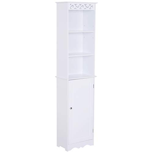 HOMCOM Hochschrank Badezimmerschrank mit 3 offenen Fächern Standregal Badschrank Aufbewahrung 6 Fächer MDF Weiß 40 x 23 x 160 cm