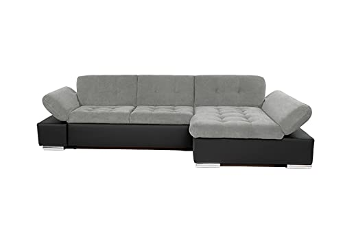 Honeypot - Sofa - Malvi Corner Sofa Bed with Storage - Leather and Fabric - Cushions Included (Right Hand Corner, Black/Grey)