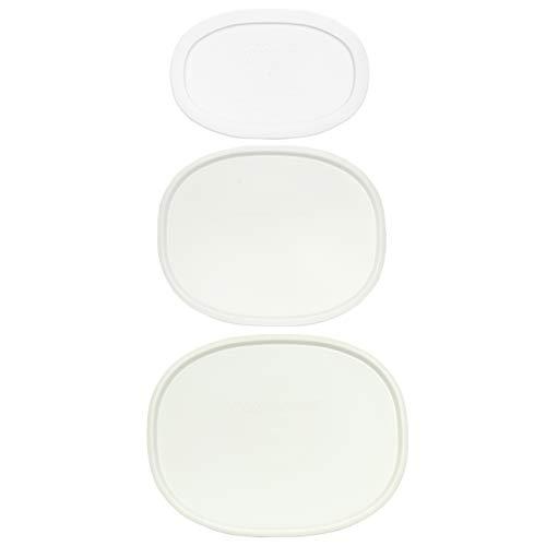 Corningware (1) F-2-PC 2.5 Quart (1) F-12-PC 1.5 Quart (1) F-15-PC 15 Ounce Oval French White Lids -  F-2-PC/F-12-PC/F-15-PC