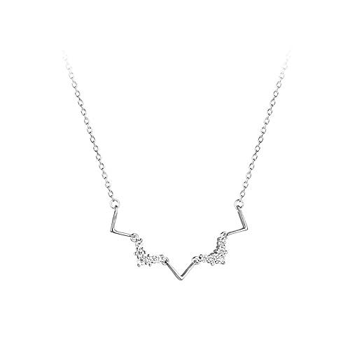 Collar de plata de ley 925 con cadena de eslabones, collar de cristal para mujer, geométrica simple en forma de V, joyería elegante para novia