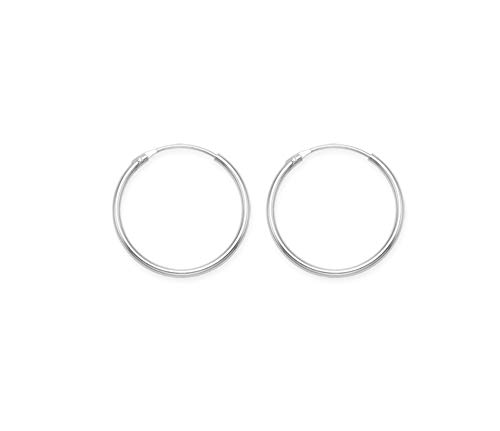 14mm Sterling Silver Hoop Earrings - SIZE: SMALL 14 mm x 1.4mm. Beware small & fiddly. 6226