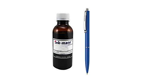 Ink-Mate Recambio de botella de tinta compatible para HP C8721EE (363), color negro, 200 ml y bolígrafo Schneider