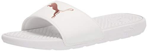 PUMA Women's Cool CAT Slide Sandal White-Rose Gold, 9