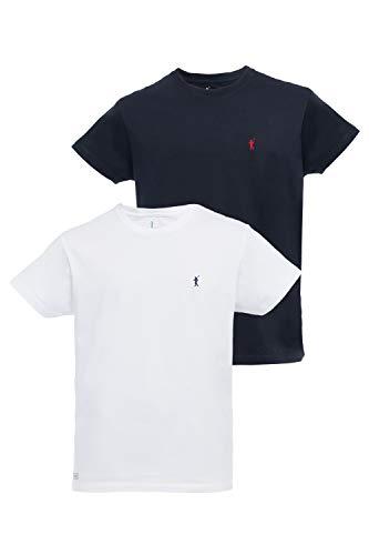 Pack 2 Camisetas de Manga Corta para Hombre Color Blanco y Azul Marino