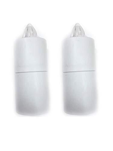2 Leuchten, Höhe 10 cm, Kunststoff, batteriebetrieben, 2 Stifte, kostenlos, Weiß,...