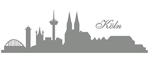 Samunshi® Wandtattoo Köln Skyline in 5 Größen und 19 Farben (150x45cm Mittelgrau)