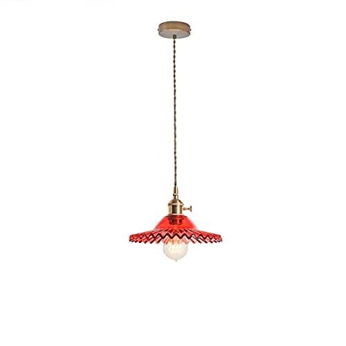 LFsem Simple Lámpara de Colgante Vintage Latón con de Vidrio Lampara de techo E27 Loft Colgante de luz Para Dormitorio Restaurante Cafe (Rojo) 🔥