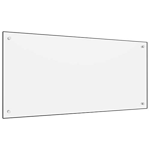 vidaXL Küchenrückwand Spritzschutz Fliesenspiegel Glasplatte Rückwand Herdspritzschutz Wandschutz Herd Küche Weiß 120x60cm Hartglas