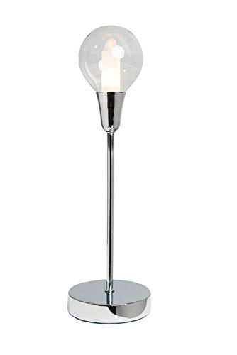 anTes interieur Tischleuchte Bulb mit LED-Leuchtmittel / 40 cm hoch/Glas/Metall verchromt/Tischlampe Nachttischlampe Chrom