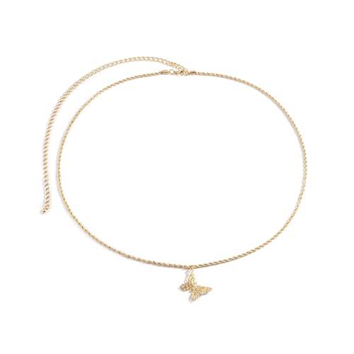 litong Cadena de cintura con diamantes de imitación sexy de mariposa para mujer, cadena de...