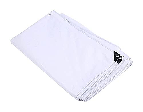 ZZYE Lona Cubierta de lona blanca, lonas adicionales resistentes a prueba de agua, cubierta de lona a prueba de agua, con ojales de aluminio, bordes reforzados, polvo de nieve resistente al viento, cu