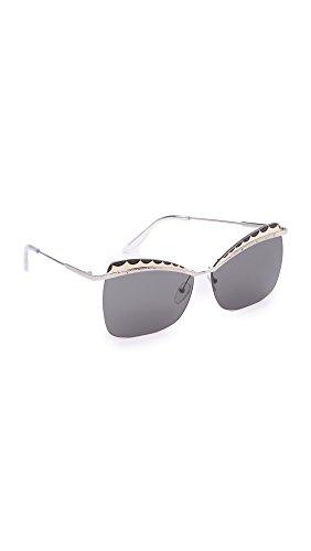 Alexander McQueen AM0059S 003 60 Gafas de sol, Plateado (003-Silver/Smoke), Mujer