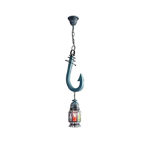 Accesorio de iluminación Retro creatividad personalidad mediterránea estilo náutico ancla marinero linterna techo lámpara accesorio color vidrio decoración decoración interior madera colgante luces de