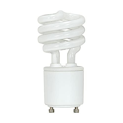 Satco S8203 13 Watt (60 Watt) 800 Lumens Mini Spiral CFL Soft White 2700K GU24 Base Light Bulb,2700K Soft White