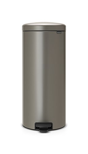 Brabantia Pedal Bin newIcon Treteimer mit Kunststoffeinsatz in platin, Plastik, Platinum, 30 Liter