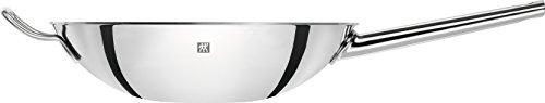 ZWILLING Wok, Incluye tapa de vidrio e inserto de rejilla extraíble, Con mango largo, Apto para la inducción, Ø 32 cm, Acero inoxidable