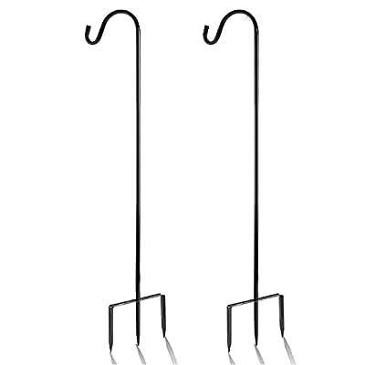 EXCMARK 2 Pack Shepherd Hook 32/48 inch 1/2 inch Thick Use at Weddings, Hanging Solar Lights, Lanterns, Bird Feeders, Metal Hanger Hook.