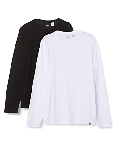 Levi's Slim 2Pk Crewneck T-Shirt, Ls 2 Pack White/Black, M Homme