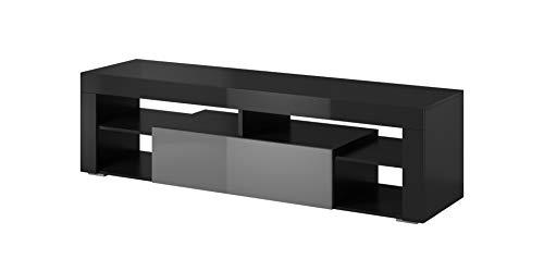 e-Com Titan Meuble TV Bas (Noir /Gris - sans Lumieres LED)