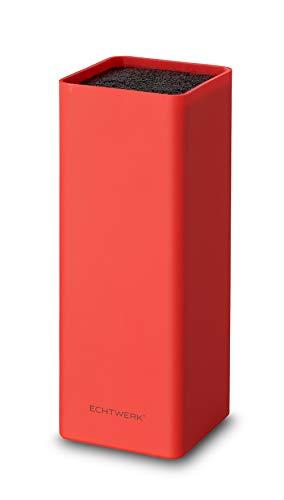 Echtwerk EW-MB-0135 Universal-Messerblock Square mit Borsteneinsatz, rot, Kunststoff