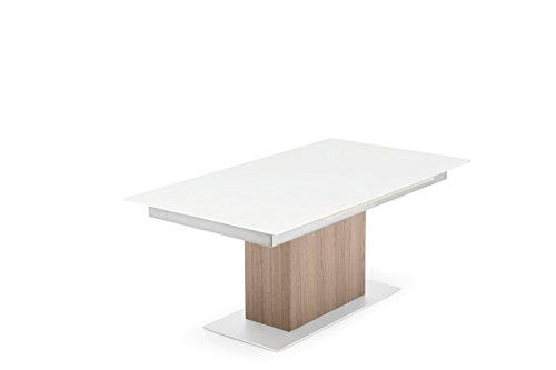 connubia by Calligaris – Table extensible synchronisation CS/4087 – Plan : verre trempé serig. acidato Taupe Gat – Finition jambes : P176 lac. Taupe Mat – MT. Acier satiné